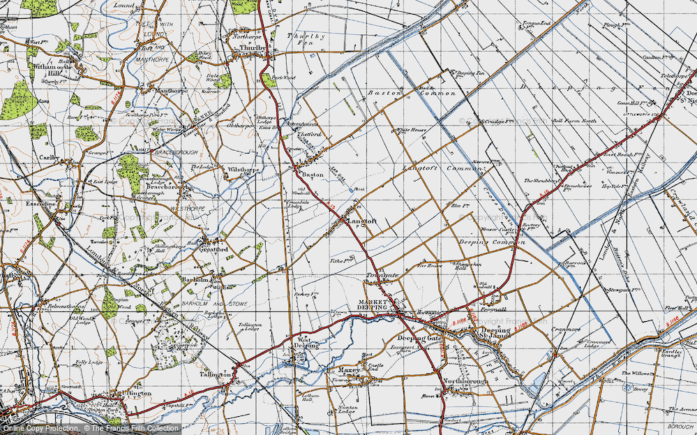 Old Map of Langtoft, 1946 in 1946