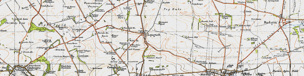 Old map of Woodbine Cott in 1947