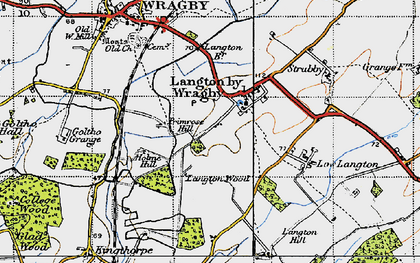 Old map of Langton by Wragby in 1946