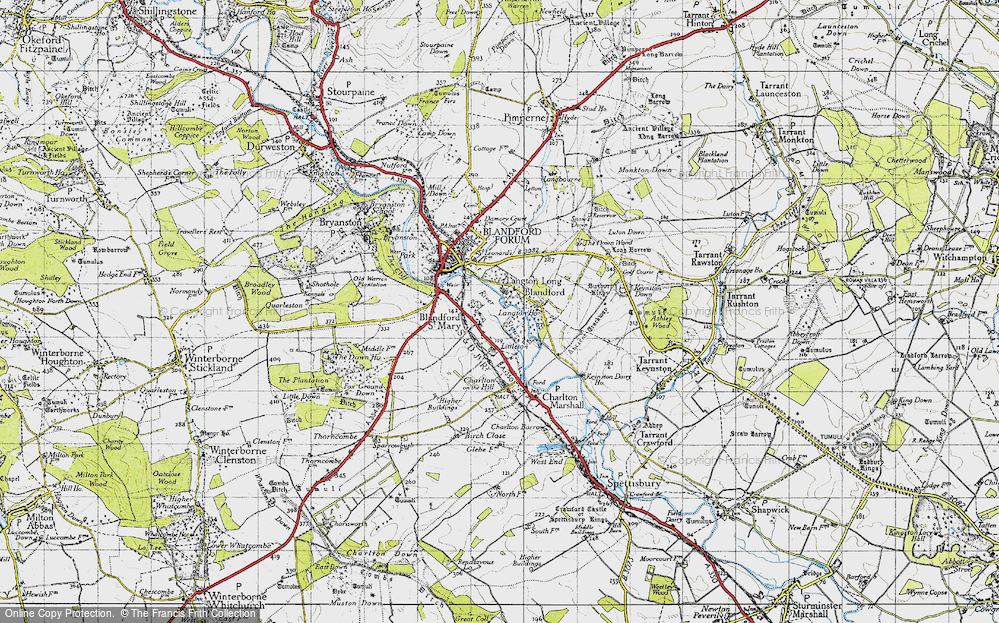 Old Map of Langton Long, 1940 in 1940