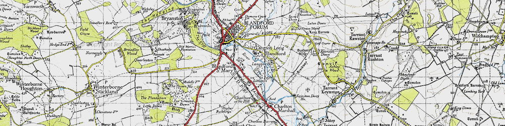 Old map of Langton Long in 1940