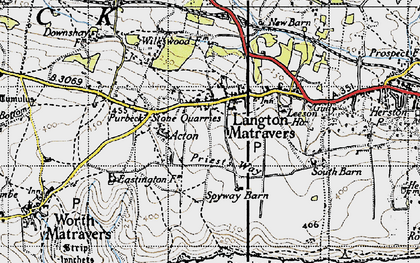 Old map of Langton Matravers in 1940