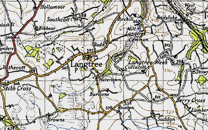 Old map of Langtree in 1946