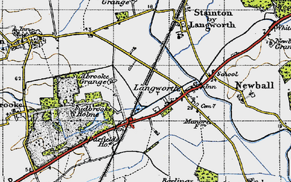 Old map of Langworth in 1947