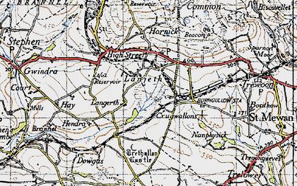 Old map of Lanjeth in 1946
