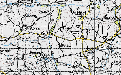 Old map of Lanjew in 1946