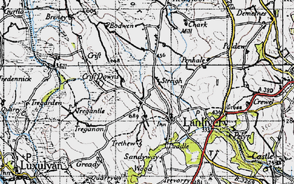 Old map of Lanlivery in 1946