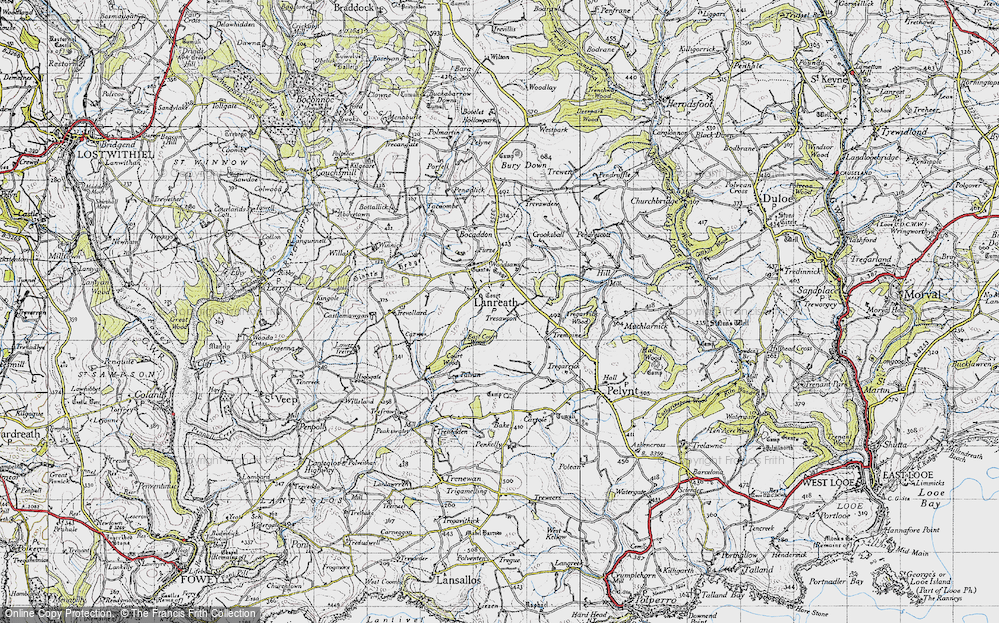 Old Map of Historic Map covering Woodsaws in 1946
