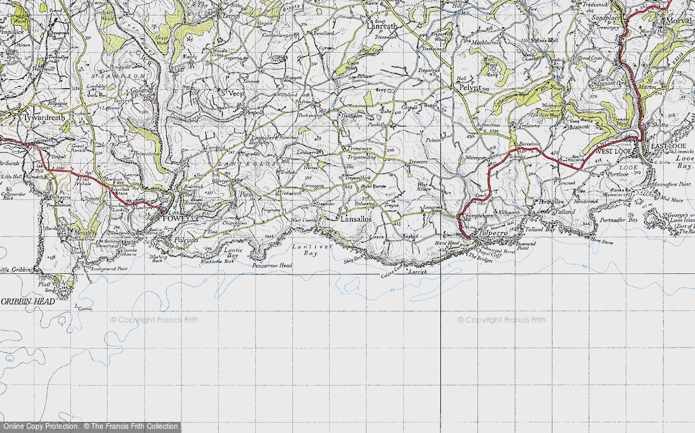 Old Map of Historic Map covering Lantivet Bay in 1946