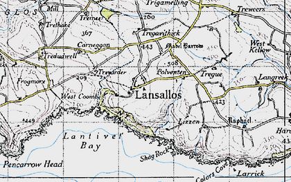 Old map of Lansallos in 1946