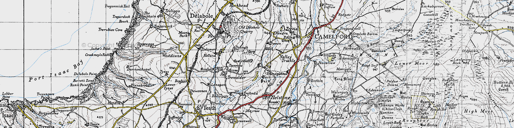 Old map of Lanteglos in 1946