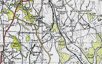 Old map of Lantyan in 1946