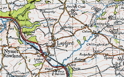 Old map of Lapford in 1946