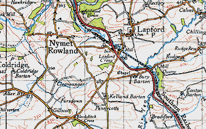 Old map of Lapford Cross in 1946
