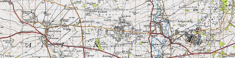 Old map of Alton Down in 1940