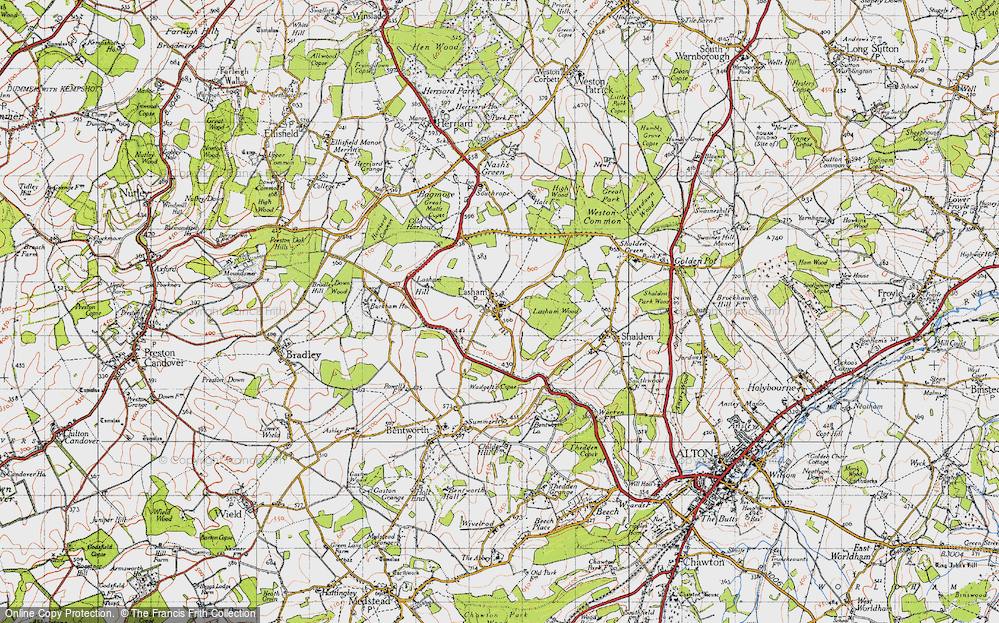 Old Map of Historic Map covering Lasham Wood in 1945