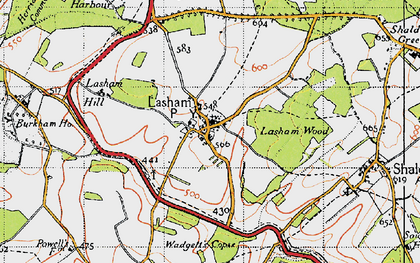 Old map of Lasham Hill in 1945