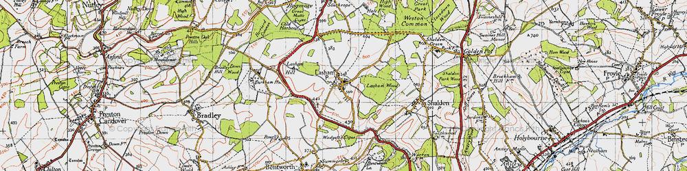 Old map of Lasham in 1945