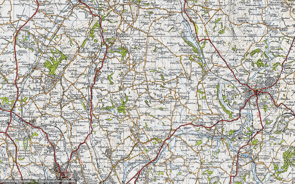 Old Map of Historic Map covering Lanehead in 1947