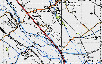 Old map of Latton in 1947