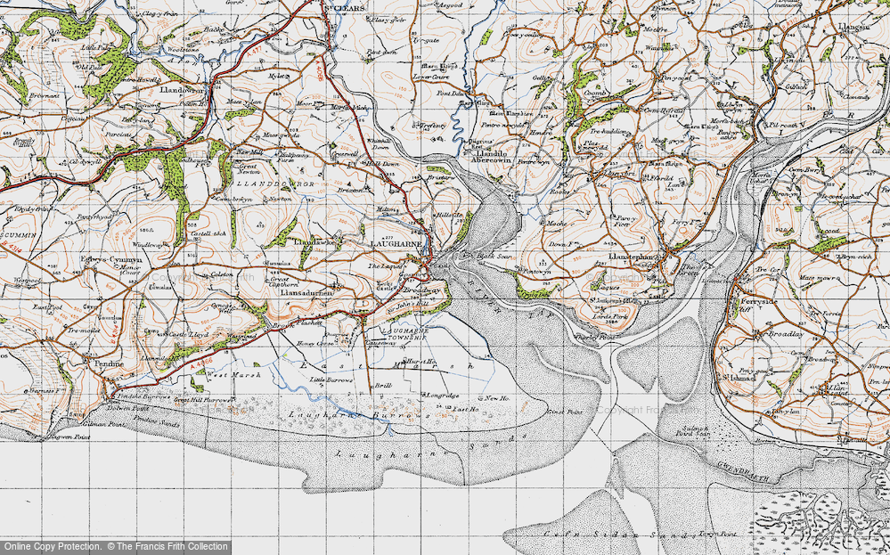 Old Map of Historic Map covering Laques-fawr in 1946