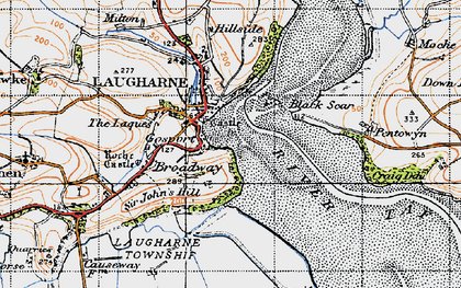 Old map of Laugharne in 1946