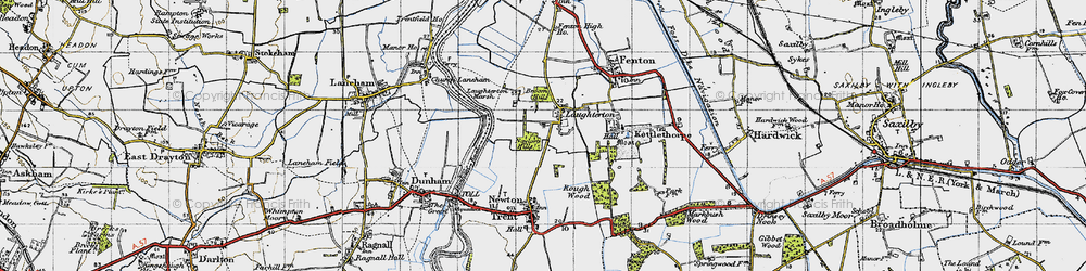 Old map of Laughterton in 1947