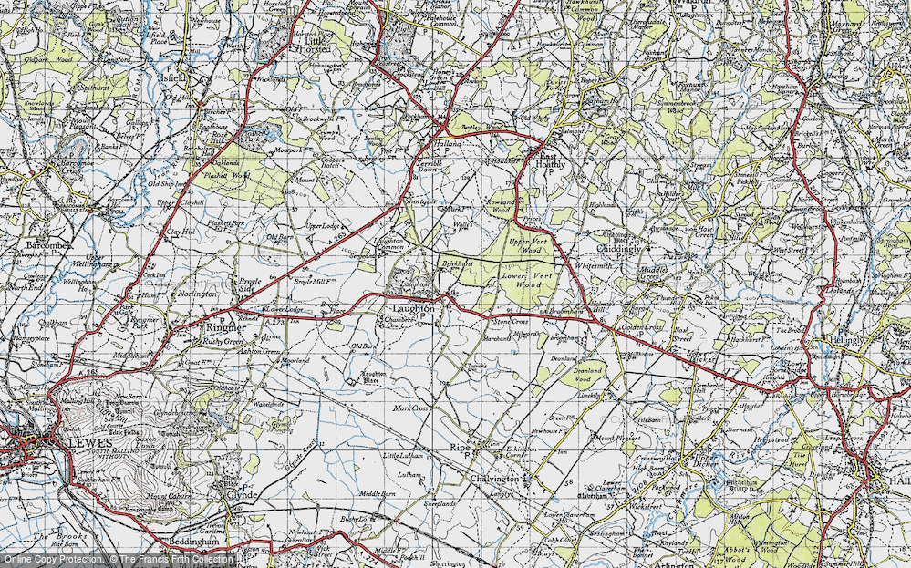 Old Map of Laughton, 1940 in 1940