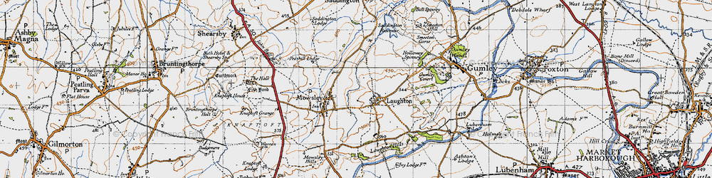 Old map of Laughton in 1946