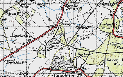 Old map of Laughton Common in 1940