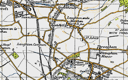 Old map of Laughton Common in 1947