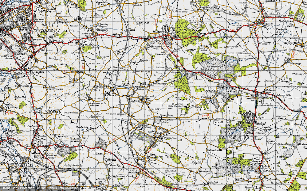 Old Map of Laughton en le Morthen, 1947 in 1947