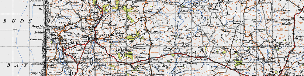 Old map of Launcells Cross in 1946