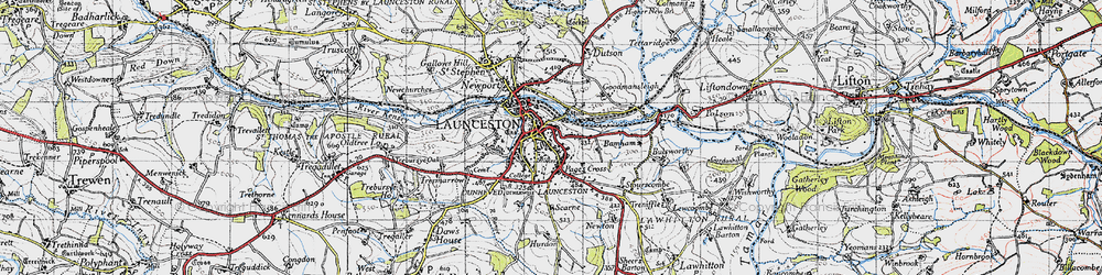 Old map of Launceston in 1946