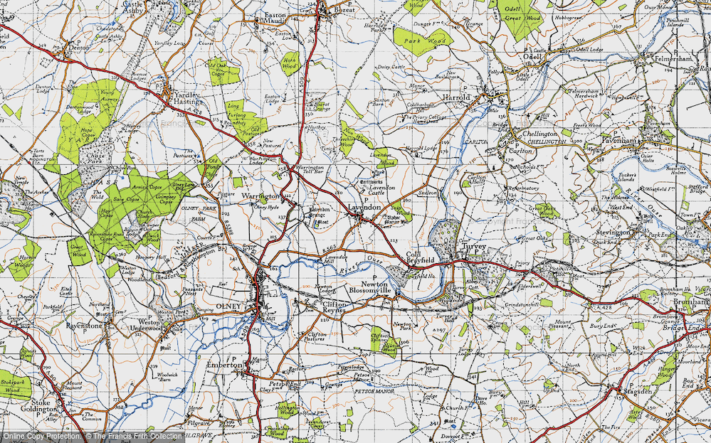 Old Map of Lavendon, 1946 in 1946