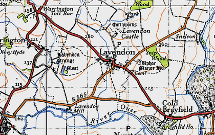 Old map of Lavendon in 1946