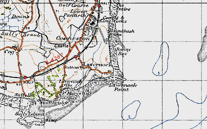 Old map of Lavernock in 1947