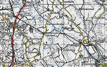 Old map of Lavrean in 1946