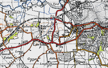 Old map of Lawford Hall in 1945