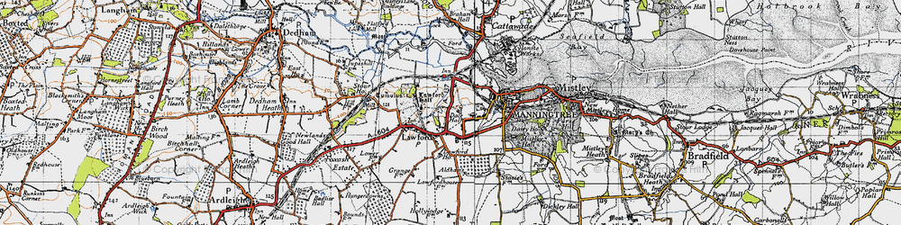 Old map of Aldhams in 1945