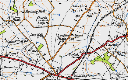 Old map of Lawford Heath in 1946