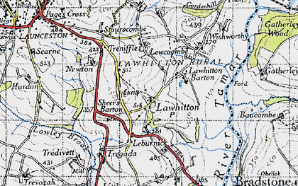 Old map of Lawhitton in 1946