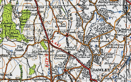 Old map of Lawley in 1947