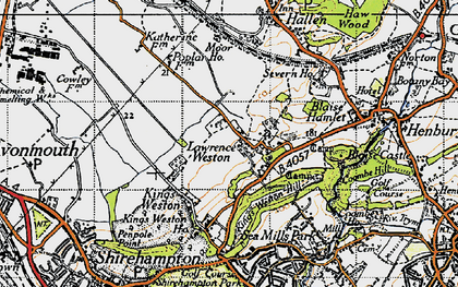 Old map of Lawrence Weston in 1946