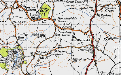 Old map of Lawshall Green in 1946