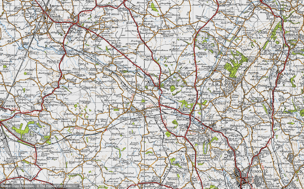 Old Map of Historic Map covering Lawton Heath in 1947