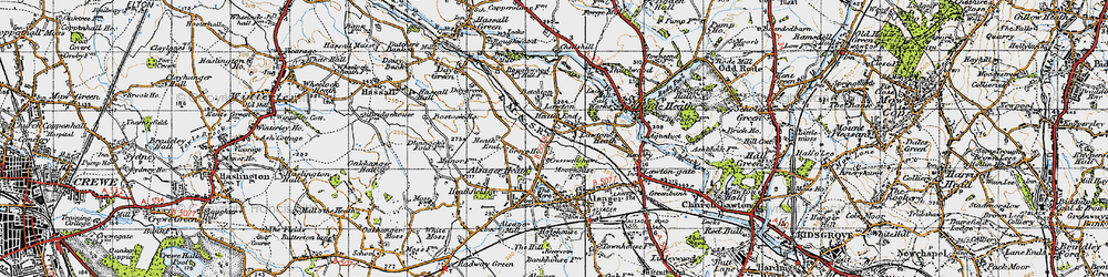 Old map of Lawton Heath End in 1947
