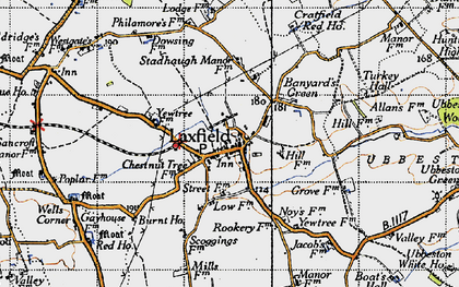 Old map of Laxfield in 1946
