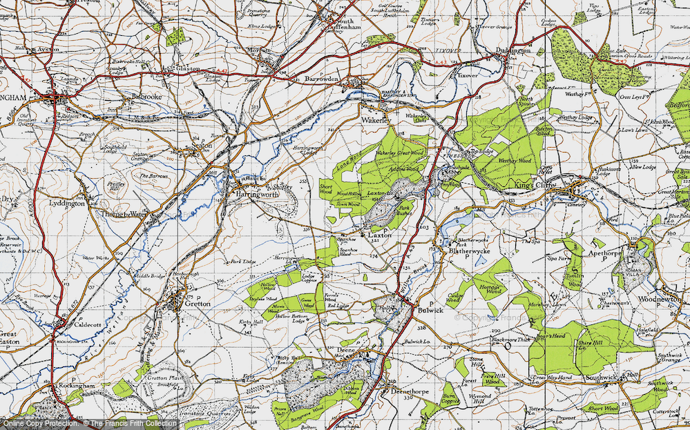 Old Map of Historic Map covering Adams Wood in 1946