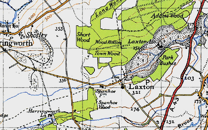 Old map of Laxton Hall in 1946